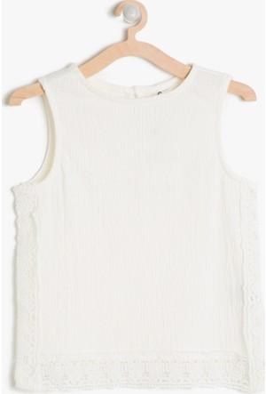 Koton Kız Çocuk Dantel Detaylı Bluz Beyaz