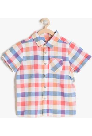 Koton Erkek Çocuk Kareli Gömlek Mercan