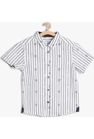 Koton Erkek Çocuk Baskılı Gömlek Siyah