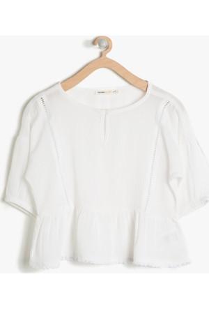 Koton Kız Çocuk Rahat Kesim Bluz Beyaz