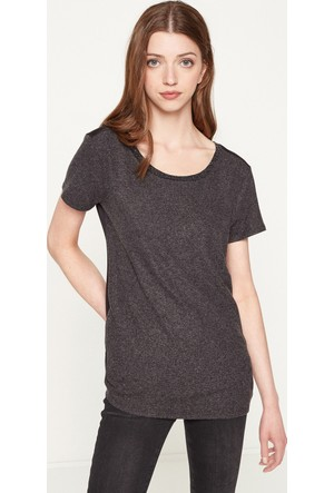 Koton Kadın Yaka Detaylı T-Shirt Antrasit