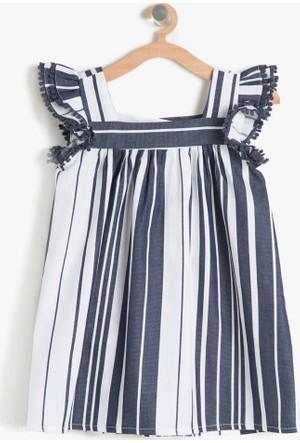 Koton Kız Çocuk Çizgili Elbise Lacivert