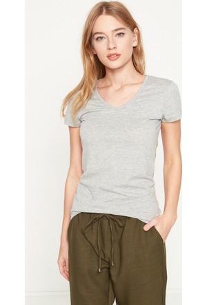 Koton Kadın V Yaka T-Shirt Gri