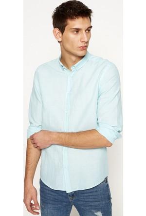Koton Erkek Keten İçerikli Klasik Yaka Gömlek Mint
