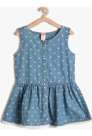 Koton Kız Çocuk Düğme Detaylı Elbise İndigo