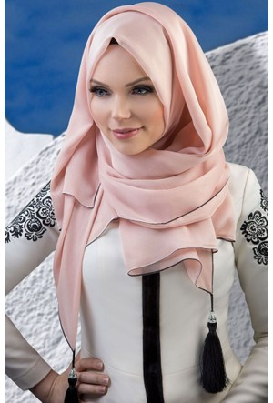 Muslima Wear Püsküllü Şal 34001 Pudra