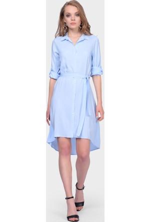 İroni Asimetrik Bebe Mavisi Gömlek Elbise