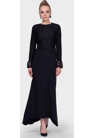 İroni Üstü Dantel Balık Siyah Abiye Elbise