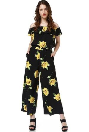 Bsl Fashion Sarı Tulum 9304