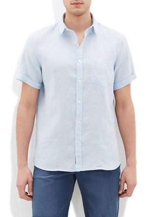 Mavi Erkek Tek Cep Kısa Kol Gömlek