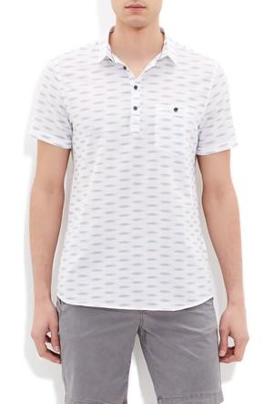 Mavi Erkek Cepli Kısa Kol Beyaz Gömlek