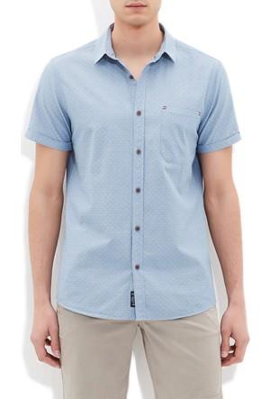 Mavi Erkek Kısa Kol Mavi Gömlek