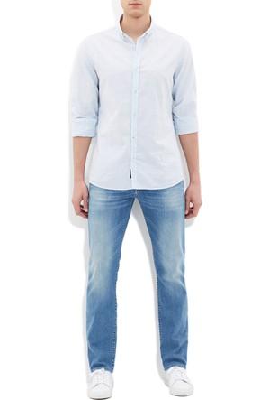 Mavi Erkek Mavi Keten Gömlek