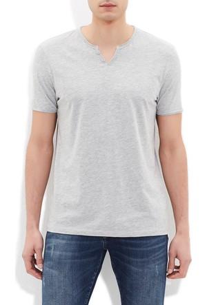 Mavi Erkek Düğmeli Yaka Gri Basic T-Shirt