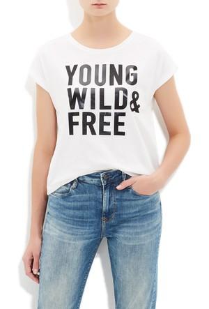 Mavi Kadın Slogan Baskılı Beyaz T-Shirt