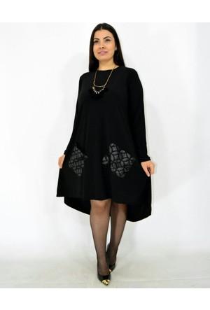 Violetta Büyük Beden Deri Cepli Kadın Elbise - Siyah