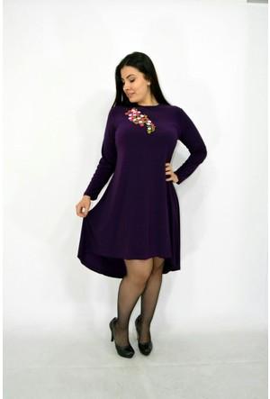 Violetta Büyük Beden Nakışlı Kadın Elbise - Mor