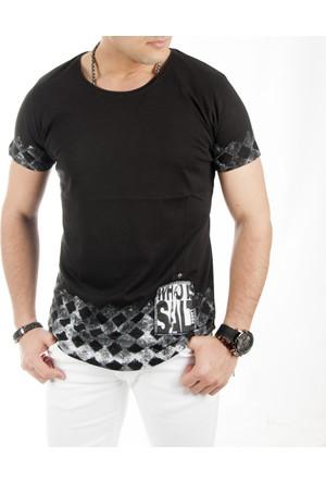 Deepsea Siyah Kolları Eteği Basklı Oval Kesim Armalı Erkek Tişört 1718408-002