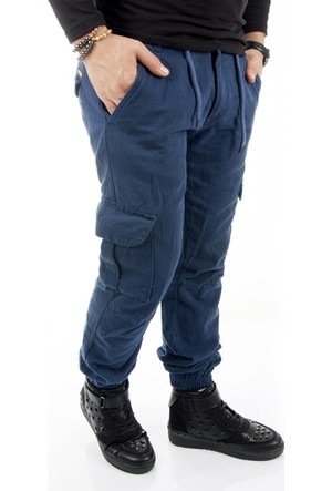 Deepsea Derin Mavi Paçası ve Beli Lastikli Bağcıklı Erkek Kargo Pantolon 1601569-166