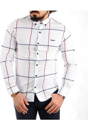 Deepsea Beyaz Büyük Kareli Kendinden Desenli Slim Fit Erkek Gömlek 1701002-001