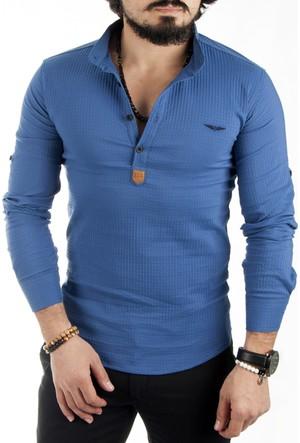 Deepsea Mavi Hakim Yaka Yarım Düğmeli Likralı Uzun Kollu Erkek Gömlek 1701007-005