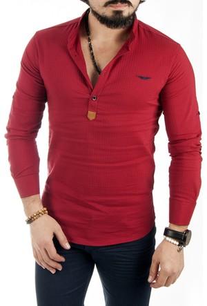 Deepsea Bordo Hakim Yaka Yarım Düğmeli Likralı Uzun Kollu Erkek Gömlek 1701007-016