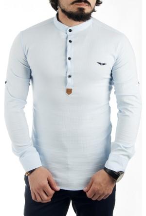 Deepsea Açık Mavi Hakim Yaka Yarım Düğmeli Likralı Uzun Kollu Erkek Gömlek 1701007-024
