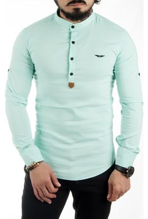 Deepsea Su Yeşili Hakim Yaka Yarım Düğmeli Likralı Uzun Kollu Erkek Gömlek 1701007-083