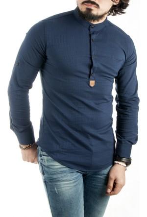 Deepsea Koyu Lacivert Hakim Yaka Yarım Düğmeli Likralı Uzun Kollu Erkek Gömlek 1701007-085