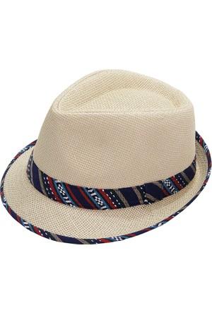 Bay Şapkacı Kadın Şerit Desenli Fötr Şapka
