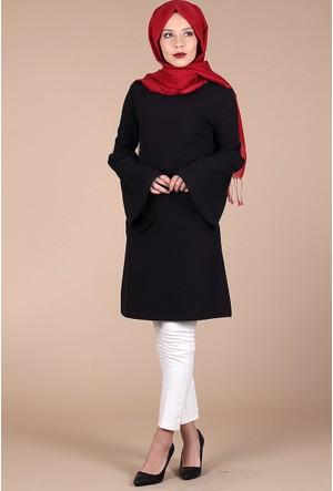 Mısra Kolu Güpürlü Tunik 7545 - Siyah