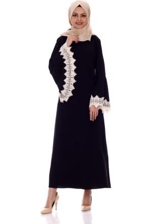 Mısra Dantel Kol Elbise 7581 - Siyah