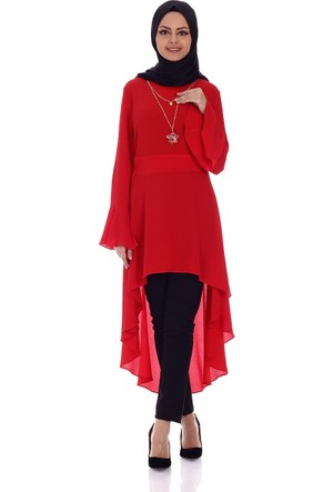 Mısra Kolyeli Tunik 8619 - Kırmızı
