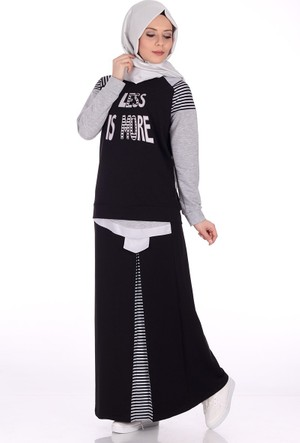 Bwest Çizgili Etek Bluz Takım 1259 - Siyah