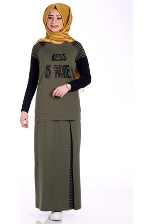 Bwest Çizgili Etek Bluz Takım 1259 - Haki