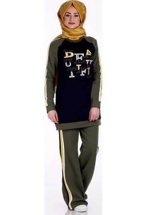 Bwest Çizgili Pantolon Bluz Takım 1260 - Haki