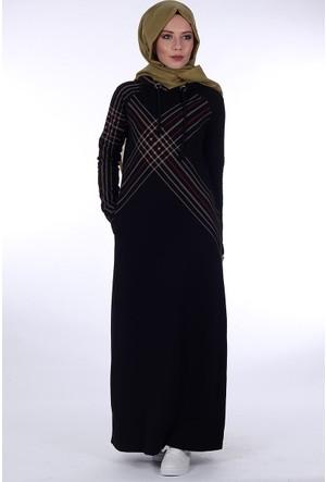 Bwest Baskılı Penye Elbise 1271 - Siyah