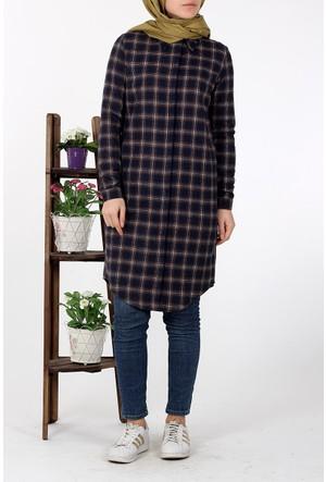 Allday Kareli Gömlek Tunik 51091 - Lacivert