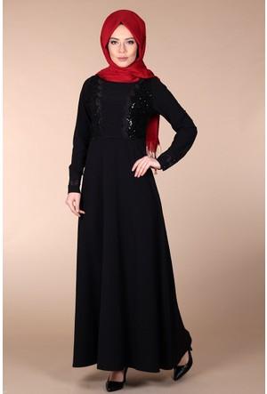 Oben İşlemeli Abiye Elbise 0150 - Siyah