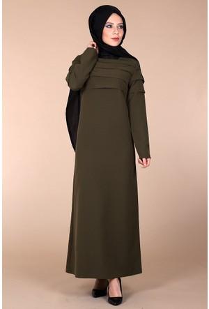 Oben Fırfırlı Abiye Elbise 0162 - Haki