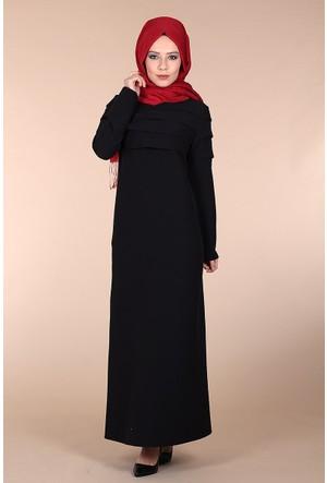 Oben Fırfırlı Abiye Elbise 0162 - Siyah