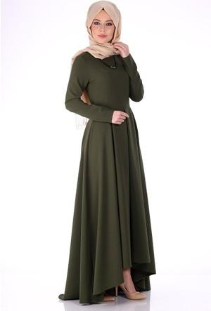 Oben Pile Detaylı Kolyeli Abiye Elbise 0206 - Haki