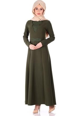 Oben Dantel Detaylı Abiye Elbise 0208 - Haki