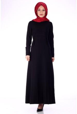 Oben File Detaylı Abiye Elbise 0209 - Siyah