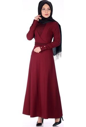 Oben Önü Dantel Detay Abiye Elbise 0220 - Bordo