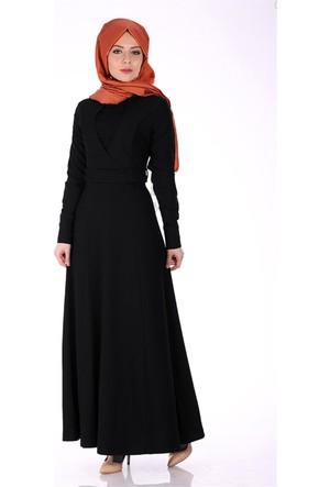 Oben Önü Dantel Detay Abiye Elbise 0220 - Siyah