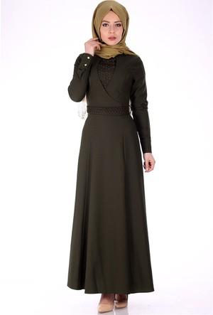 Oben Önü Dantel Detay Abiye Elbise 0220 - Haki