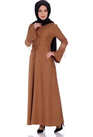 Oben İnci Düğmeli Elbise 0244 - Taba
