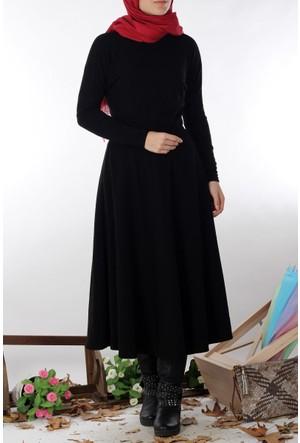 Etika Büzgülü Triko Elbise 7009 - Siyah