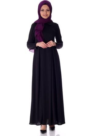 Moda Bu İnci Düğmeli Elbise 3792 - Siyah